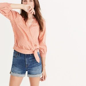 Madewell wrap top star scatter pink